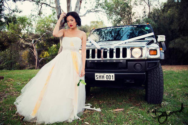 southern hummer hire wedding photo